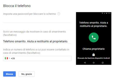 Google - Blocca il telefono