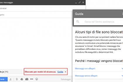 Gmail bloccare gli allegati file JavaScript
