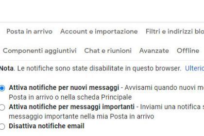 Come modificare le notifiche Gmail da Computer