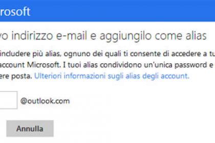 Come impostare un alias su Outlook.com / Hotmail